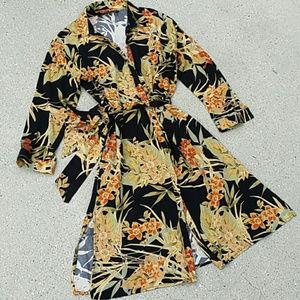 ZARA Midi Dress Floral Button up Kimono